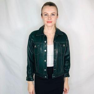 Chevignon Green Leather Jacket Moto Chic Vintage M